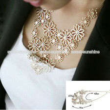 New Women Fashion Chain Jewelry Flower Bib Choker Pendant Statement Necklace