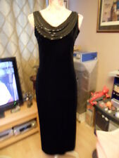 LADIES YESSICA (C&A) VINTAGE BLACK VELVET EVENING DRESS 1970/80s? SIZE 10/12 NEW