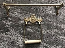 Vintage Solid Brass Bathroom Towel Bar & Toilet Paper Holder