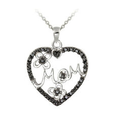 Treated Black Diamond Accent Mom Heart Necklace in Sterling Silver