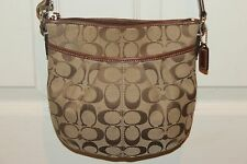 COACH Khaki Signature 12CM Jacquard Canvas Pleated Crossbody Bag Swingpack