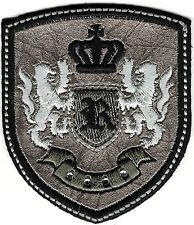 Silver Black Rampant Lion Crown Coat of Arms Crest Letter R Embroidery Patch