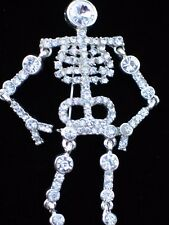 "SILVER CLEAR RHINESTONE HALLOWEEN GHOST SKELETON PIN BROOCH JEWELRY 4"" MOVABLE"