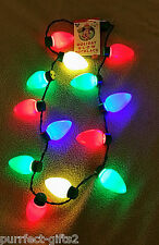 DISNEY CHRISTMAS LIGHTS LIGHTBULB FLASHING LIGHT UP GLOWING NECKLACE~NEW~5 MODES