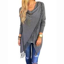 New Women Blouse Ladies Tops Long Sleeve Tassel Slash Blouse Tops Shirt Gray