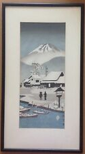 Old Japanese Woodblock Print of Military Fort and Mt Fuji in Snow, signed.