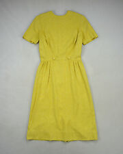 Vintage 1940's Muted Yellow Textured Raw Silk Short Sleeve Mid Calf Dress XS