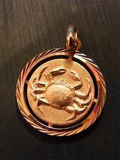 Pendentif Médaillon Signe Zodiaque en Or Plaqué Cancer Silver Silber Rond