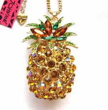 Betsey Johnson Shiny Crystal Beautiful big pineapple pendant Necklace#842L