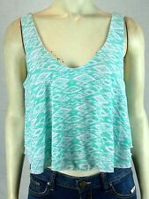 Neblina by Urban Episode Blue Green White Geometric Lined Tank Top Large 12 14