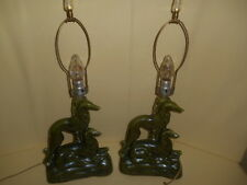 RARE PAIR MID CENTURY GREYHOUND BORZOI RUSSIAN WOLFHOUND WHIPPET TABLE LAMPS