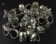 200GM SKULL & OWL BONE RINGS WHOLESALE LOT 925 STERLING SILVER OVERLAY RINGS