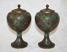 "RARE ANTIQUE c.1900 PAIR OF CHINESE CLOISONNÉ 8 1/2"" LIDDED PEDESTAL JARS"