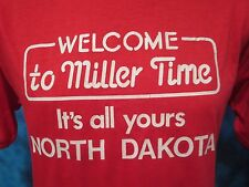 NOS vintage 80s MILLER BEER NORTH DAKOTA T-Shirt XS/SMALL mgd draft tourist thin