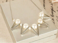 New Fashion Pearl Choker Chunky Statement Bib Pendant Chain Necklace Gift