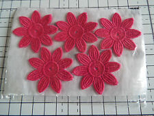 Iron on / sew on Hot Pink, Guipure Lace ,Applique, Daisy-Flower Motifs x 5 (4cm)