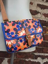 Fossil Colorful Abstract Mosaic Print Coated Key Per Crossbody Bag Purse Handbag