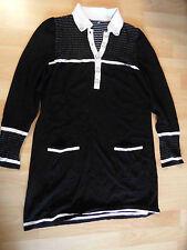 SEM PER LEI schönes Strickkleid mit Kragen schwarz weiß Gr. 38 TOP kMü1015