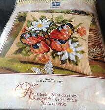 Vervaco Cross Stitch Kit 1200/642 Peacock Butterfly & Flowers Cushion Front 40cm