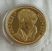GEORGE IV 1820 - 1830 32mm 24ct GOLD ON HALLMARKED SILVER PROOF MEDAL