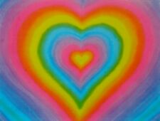 10  Rainbow Hearts Art Postcards Perfect Valentines and Gift Card