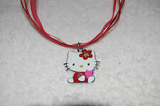 HELLO KITTY NECKLACE Red voile **Birthday Party Favor* Pink flower Enamel