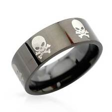 Skull and Bones Gentlemens Band Ring in Stainless steel Size 9