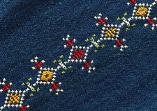 Hand-Embroidered Tribal Trim Kutch India Mirror Banjara Fabric Embroidery Blue