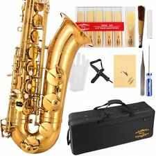 Glory Gold Laquer B Flat Tenor Saxophone with Case,10pc Reeds,Mouth Piece,Screw