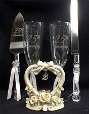 Wedding Cake Topper 25th Anniversary toasting Glasses Knife server 25 LOT silver