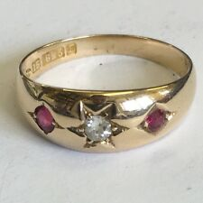 Antique Victorian 15ct Gold Diamond & Ruby 3 Stone Gypsy Ring Size O 1888