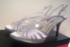 TOUCH OF NINA Babes Silver Crystal Strappy Heels Sandal Wedding Shoe Women 8.5