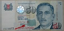 "Singapore Portrait Series $50 With Shifting Error ""518873"""