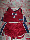 BUILD A BEAR WORKSHOP 2 PC LOT SHIRT SHORTS NBA 1 BASKETBALL OUTFIT RED WHITE