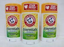 3 Bars Arm And Hammer Essentials Deodorant Scent: FRESH, 2.5 Oz ea!