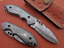 Union Knives Custom Hand Made Damascus Steel Pocket Knife With Damascus Handle.