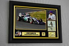 Lewis Hamilton F1 World Champ 2015 44 Limited Ed. A3 Framed Canvas Print Signed