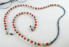 """NEW CLEAR RED BLUE BEADED RETAINER EYEGLASS SUNGLASS CORD HOLDER NECKLACE 27"""""""
