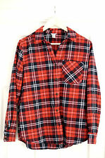 Brand New Ladies Forever 21 Red Flannel Checked Tartan Boyfriend Shirt Medium