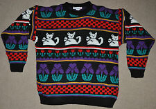 Vtg 80s 90s Kitty Cat Floral ROSE Fairy Kei acrylic Ugly Cute SWEATER Medium M