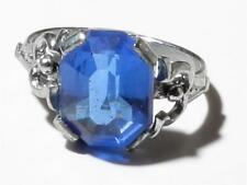 Vintage Czech Bohemian silver tone costume jewelry ring blue crystal rhinestone