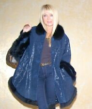 e-3700; PELZJACKE PONCHO CAPE LEDER LEATHER FUCHS FOX PELZ FUR MEX Gr.L-XXL