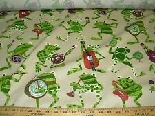 """~10 1/8 YDS~P KAUFMANN~""""ROCKIN FROGS""""~100% COTTON UPHOLSTERY FABRIC FOR LESS~"""
