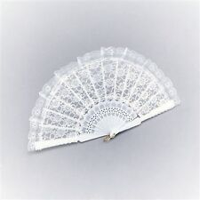 White Spanish Lace Moulin Rouge Burlesque Fancy Dress Accessory Fan BA612