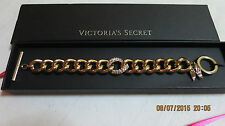 VICTORIAS SECRET Limited Edition GOLD RHINESTONE ANGEL WING CHARM BRACELET