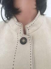 Dressbarn Woman L Jacket Designer Fashion Beige Decorative Stitch Chic