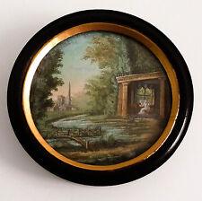 Belle peinture, gouache et aquarelle, paysage Romantique, miniature, fin XIX ème