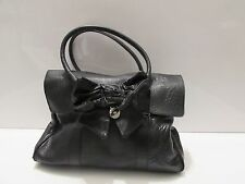 Authentic MULBERRY Black Leather Shoulder handbag with Bow Detail
