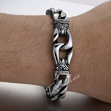 """7.83"""" Mens Boy Silver Curb Link Knot Swirl 316L Stainless Steel Bracelet Chain"""
