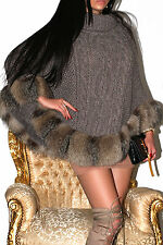 FAB! TAUPE GREY CHUNKY CABLE KNIT WOOL PONCHO WITH REAL SILVER CRYSTAL FOX TRIM